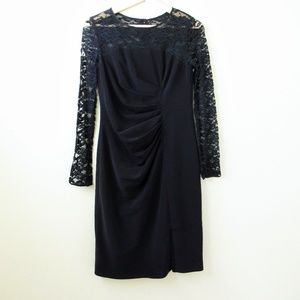 Adrianna Papell • Drape Long Sleeve Lace Dress